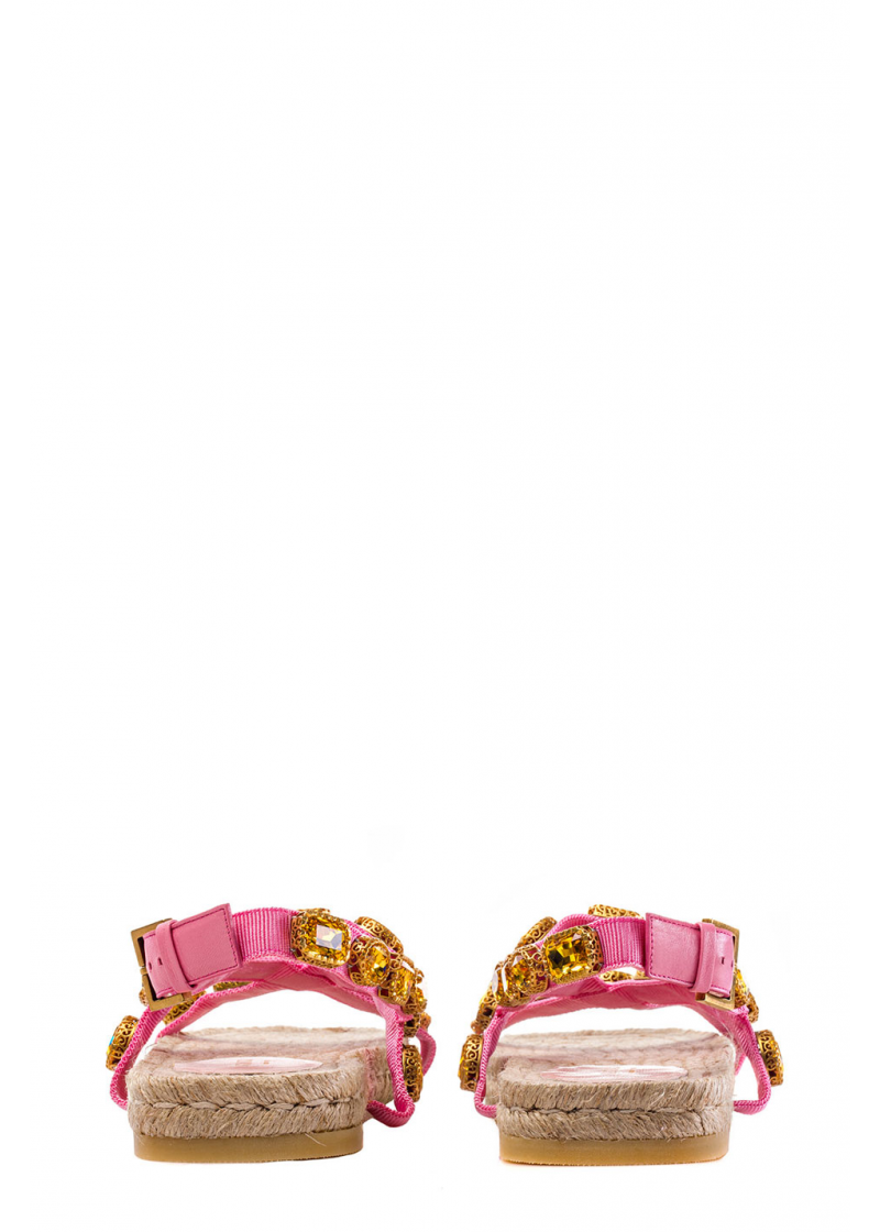 Grosgrain espadrille sandal with crystals - 3