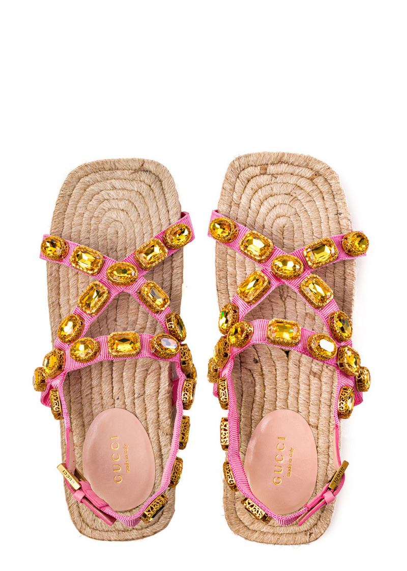 Grosgrain espadrille sandal with crystals - 4