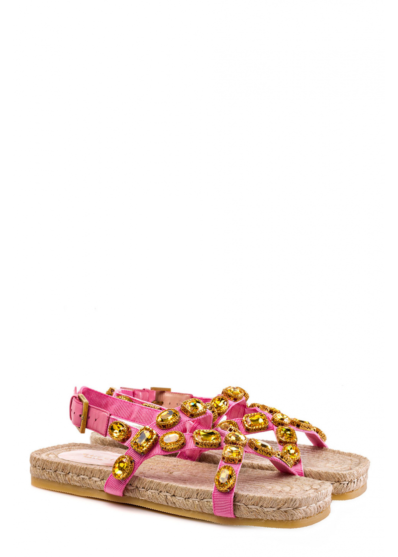 Grosgrain espadrille sandal with crystals - 2